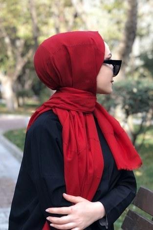 - Sim şeritli Şal 5787-05 kırmızı