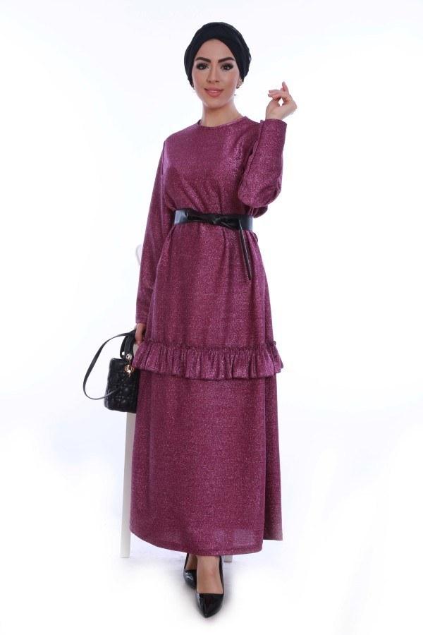 Simli Fırfırlı Abiye Elbise 7668-02