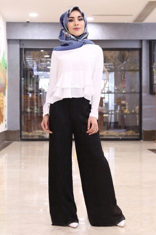 Simli Pantolon 25017-2 Siyah - Thumbnail