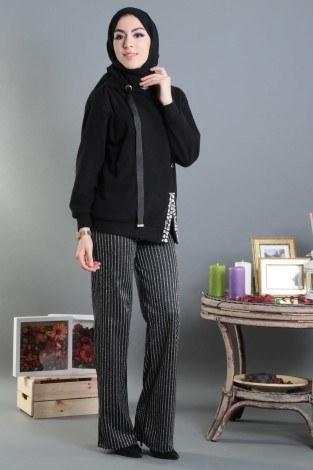 - Simli Şerit Detaylı Bol Paça Pantolon 59210-1 (1)