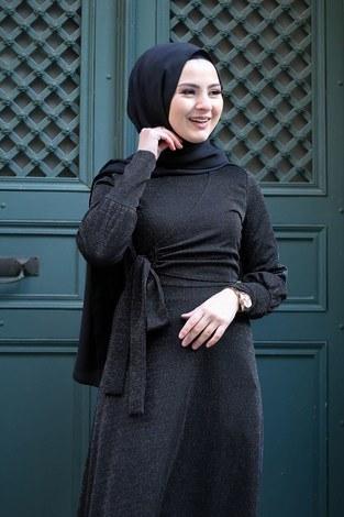 - Simli Tarz Elbise 5594-1 Siyah (1)