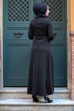 Simli Tarz Elbise 5594-1 Siyah - Thumbnail