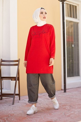 - Simple Sweat-Tunik 9792-10 Kırmızı