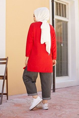 Simple Sweat-Tunik 9792-10 Kırmızı - Thumbnail