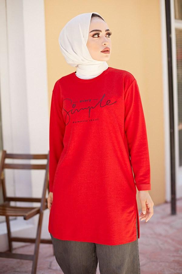 Simple Sweat-Tunik 9792-10 Kırmızı