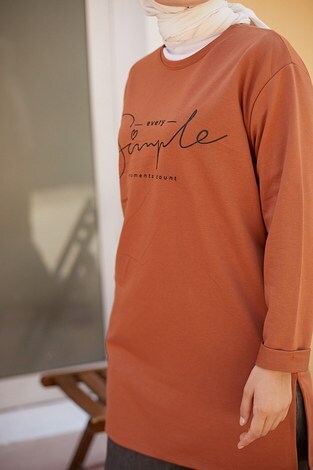 Simple Sweat-Tunik 9792-13 Taba - Thumbnail