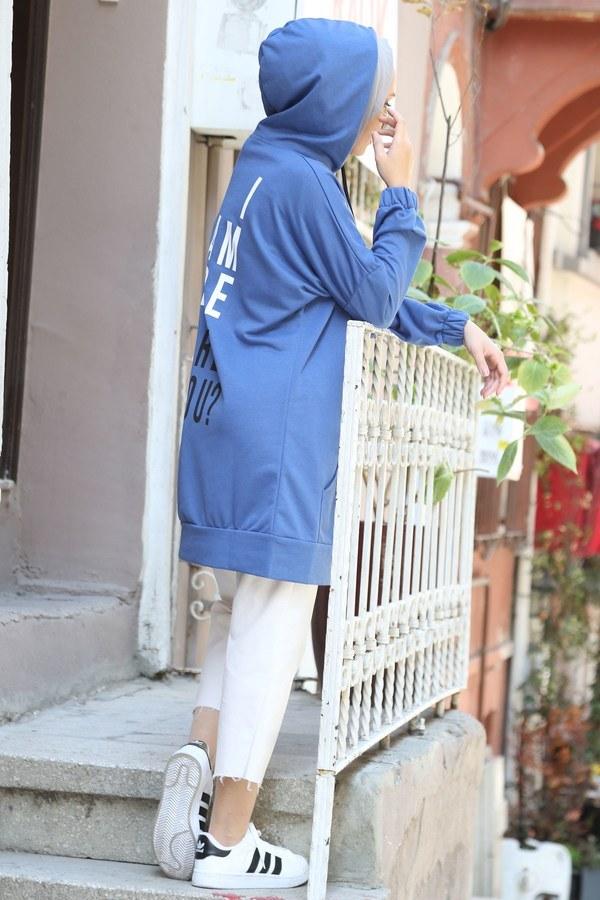 Sırtı Yazı Baskılı Tunik 1760-08 mavi