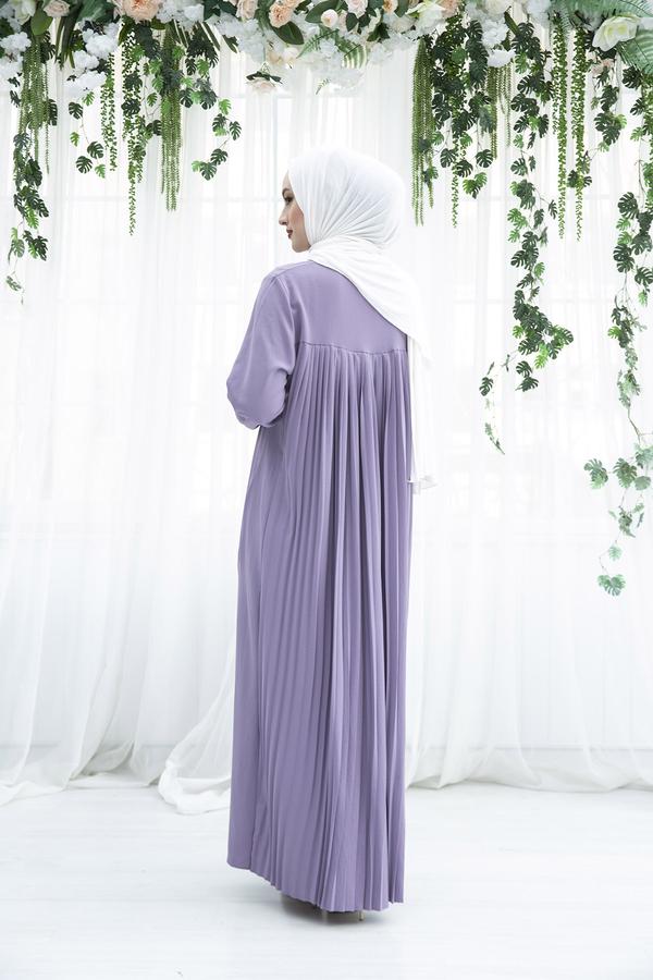 Sırttan Piliseli Elbise 160SAG-3142 Lila