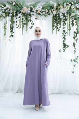Sırttan Piliseli Elbise 160SAG-3142 Lila - Thumbnail