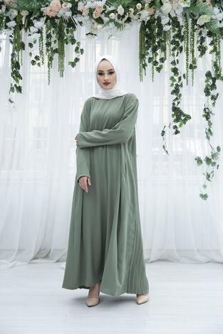 Sırttan Piliseli Elbise 160SAG-3142 Mint - Thumbnail
