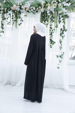Sırttan Piliseli Elbise 160SAG-3142 Siyah - Thumbnail
