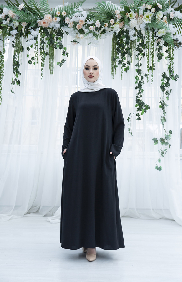 Sırttan Piliseli Elbise 160SAG-3142 Siyah