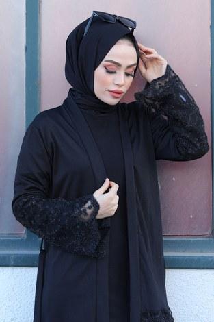 - Siyah İşlemeli Abaya 16380-1 Siyah (1)
