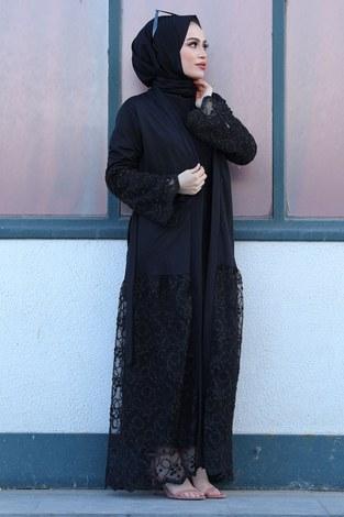 Siyah İşlemeli Abaya 16380-1 Siyah - Thumbnail