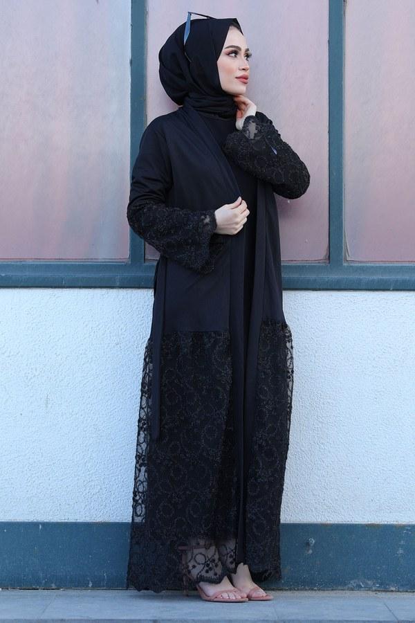 Siyah İşlemeli Abaya 16380-1 Siyah