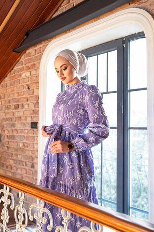 Su Dalgası Fisto Elbise 540KPS-9003 Lila - Thumbnail