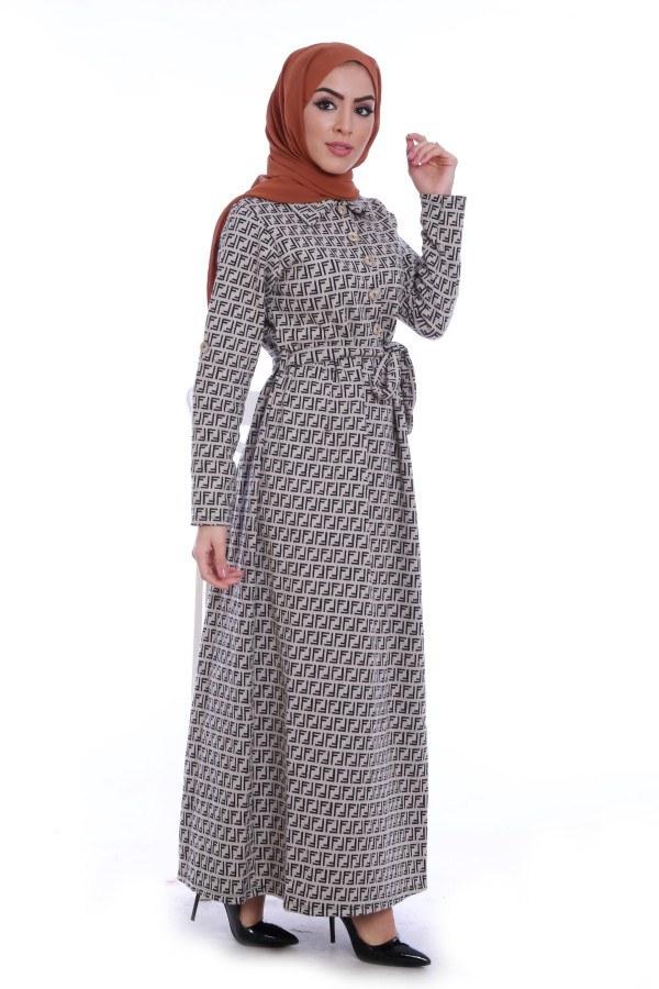 Tahta Düğme Elbise 1242-06