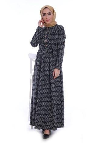 Tahta Düğme Elbise 1242-08 - Thumbnail