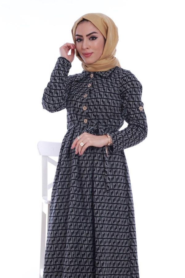 Tahta Düğme Elbise 1242-08