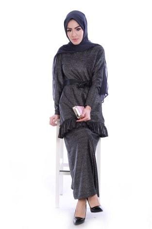 Simli Fırfırlı Abiye Elbise 7668-01 - Thumbnail