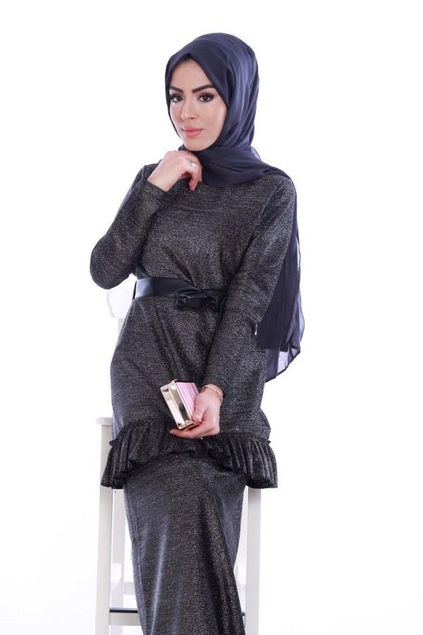 Simli Fırfırlı Abiye Elbise 7668-01