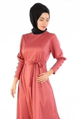 - Tahta Düğmeli Kuşaklı Elbise EL1596-02 (1)