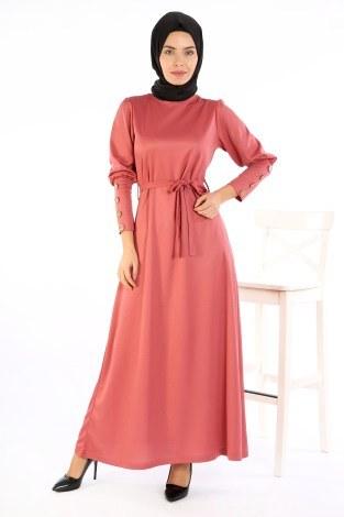 - Tahta Düğmeli Kuşaklı Elbise EL1596-02