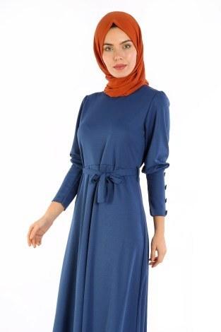 - Tahta Düğmeli Kuşaklı Elbise EL1596-03 (1)