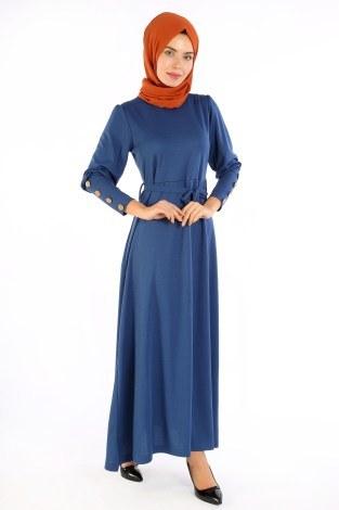 - Tahta Düğmeli Kuşaklı Elbise EL1596-03