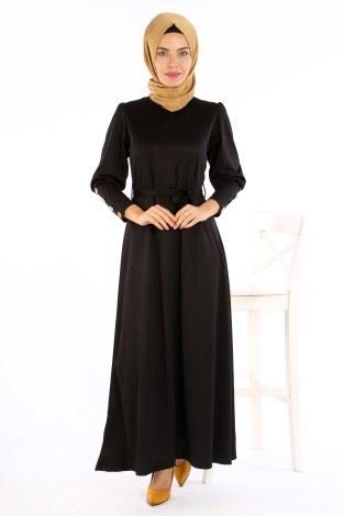 - Tahta Düğmeli Kuşaklı Elbise EL1596-01