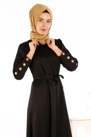 - Tahta Düğmeli Kuşaklı Elbise EL1596-01 (1)