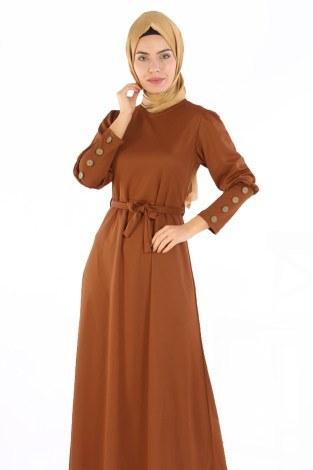 - Tahta Düğmeli Kuşaklı Elbise EL1596-06 (1)