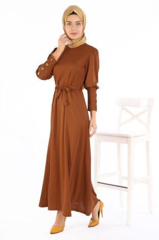 - Tahta Düğmeli Kuşaklı Elbise EL1596-06