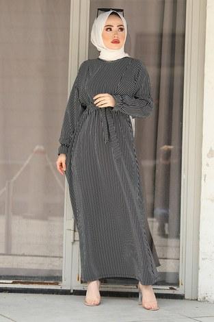 - Tarz Elbise 17640-1 Siyah Beyaz