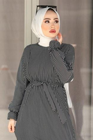 - Tarz Elbise 17640-1 Siyah Beyaz (1)