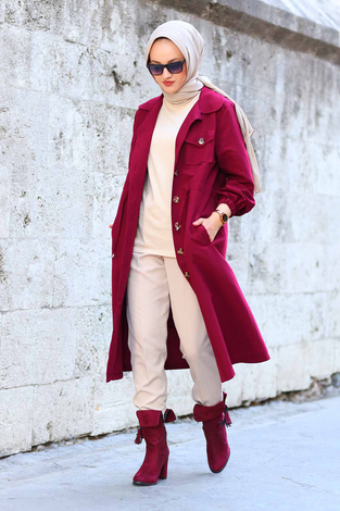 - Tarz Trenchcoat 7337-3 Bordo