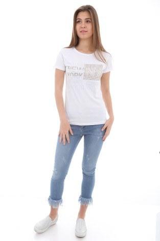 - Taş Baskılı T-Shirt 1729-2