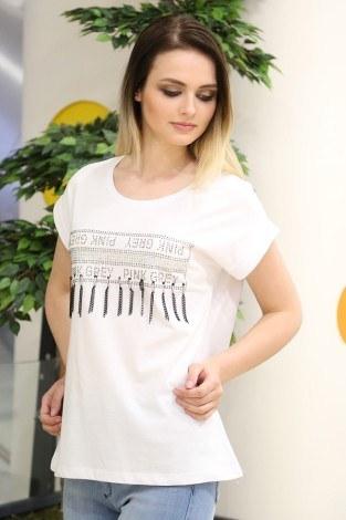 - Zincirli Taş Baskılı T-Shirt 1948-1 Beyaz
