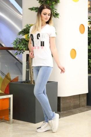 - Taş Baskılı T-Shirt 1982-1 Beyaz (1)