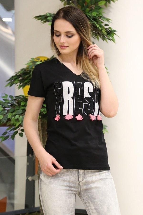 - Taş Baskılı T-Shirt 1982-2 Siyah