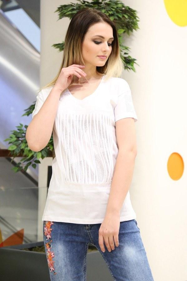- Taş Baskılı T-Shirt 1985-1 Beyaz