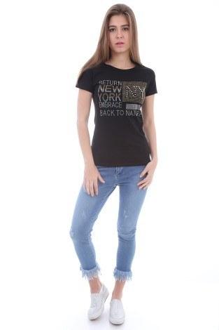 - Taş Baskılı T-Shirt 1729-1