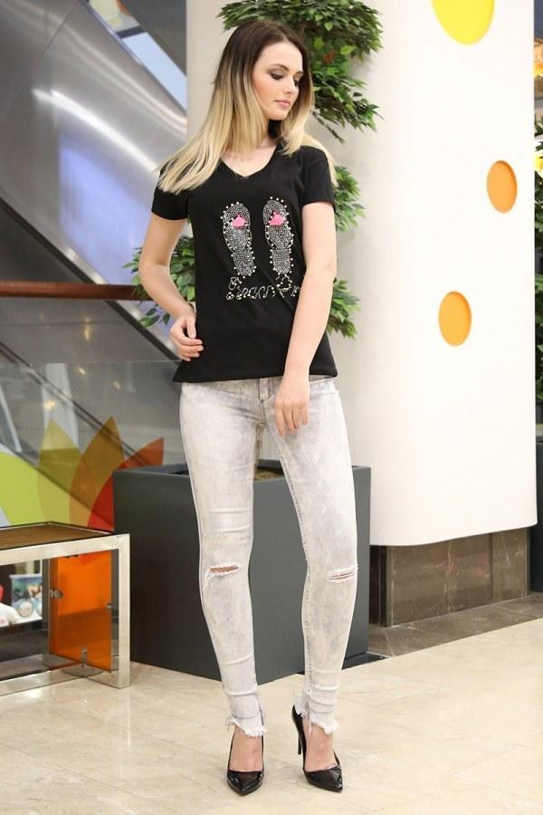 - Taş Baskılı T-Shirt 1989-2 siyah (1)