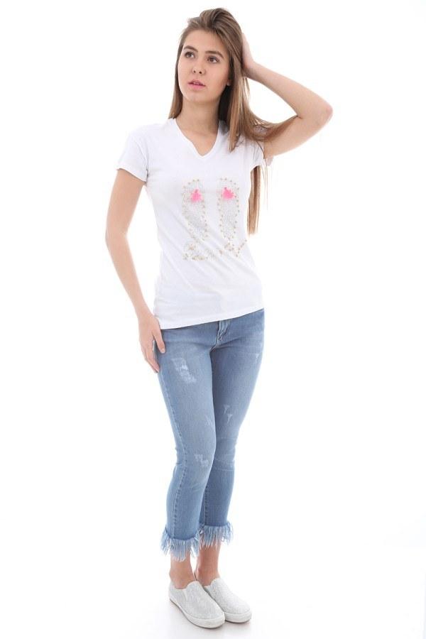 - Taş Baskılı T-Shirt 1989-1 Beyaz (1)