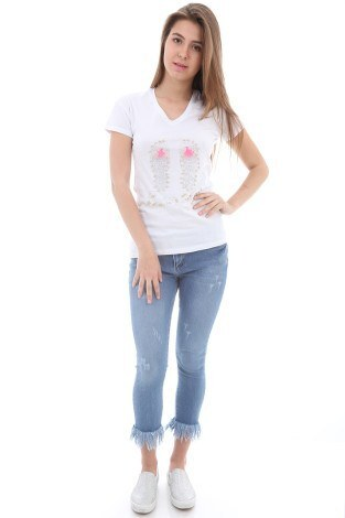 - Taş Baskılı T-Shirt 1989-1 Beyaz