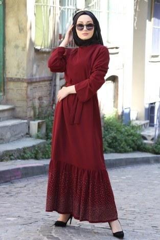 - Taş Detaylı Elbise 2098-02