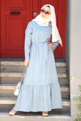 - Taş Detaylı Elbise 2098-04