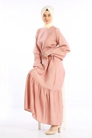 - Taş Detaylı Elbise 4076-02