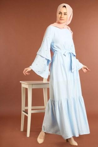 - Taş Detaylı Elbise 4076-03