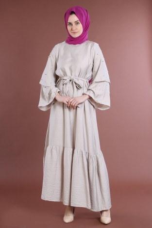 - Taş Detaylı Elbise 4076-04